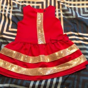 Red and gold mod-style dress